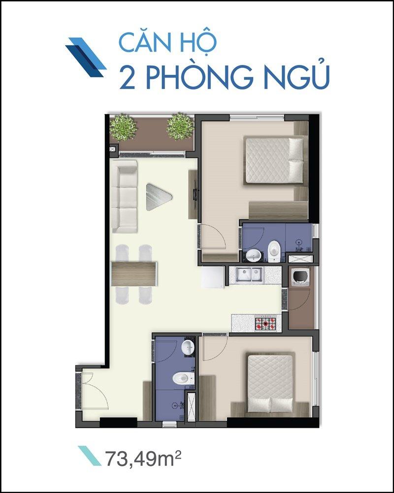 Bản vẽ căn hộ 2 phòng ngủ, 2 wc 73m2